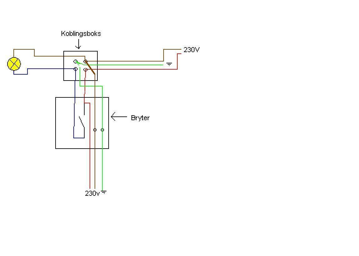 Koble lysbryter via koblingsboks