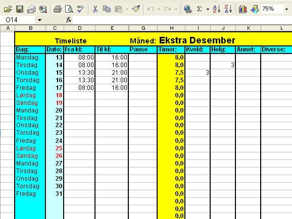 timeliste excel
